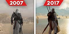 《刺客:起源》对比初代《刺客信条》:十年画质飞跃
