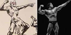 《战神4》趣味概念画 阿特瑞斯模仿施瓦辛格秀肌肉!