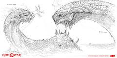《战神》新作世界之蛇耶梦加得 精美设计原画公布!