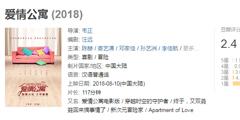 电影《爱情公寓》豆瓣评分仅2.4!1星率达到了89.2%