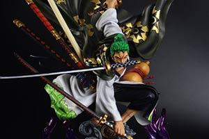 《海贼王》和服索隆雕像公布 三刀流挥刀魄力十足!