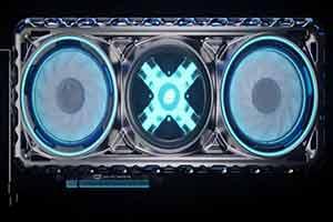 英特尔Xe架构显卡外观公开 酷炫蓝光双风扇金属背板