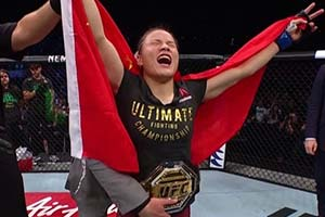 中国首位UFC无差别格斗冠军 1分钟内TKO巴西拳王