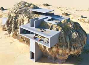 末日生存壁垒?印度设计师将豪宅塞入荒野巨石之中