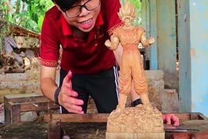 相当还原逼真!越南雕刻达人制作《七龙珠》悟空木雕