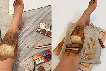 惊不惊悚看大腿?知名彩绘师开启了新的腿玩年方式!
