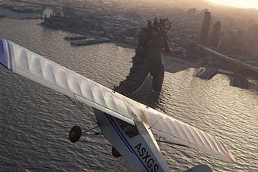 哥斯拉登陆旧金山湾!《微软飞行模拟》哥斯拉降临MOD