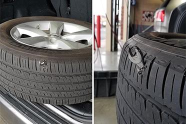 修车厂员工傻眼现场!这扳手是怎么插到轮胎上的?