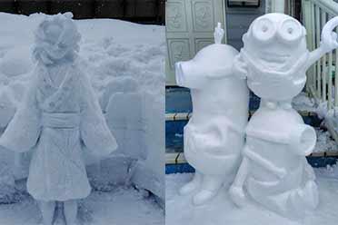 日本降雪后民众晒自堆雪人 网友:高人竟在我身边!