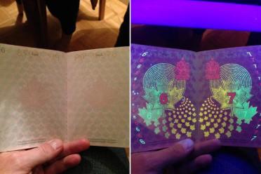 平平无奇?超绚烂「护照防伪荧光线」:画面惊艳网友!