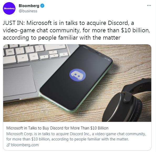 微软正已超100亿美元的价格收购聊天社区Discord