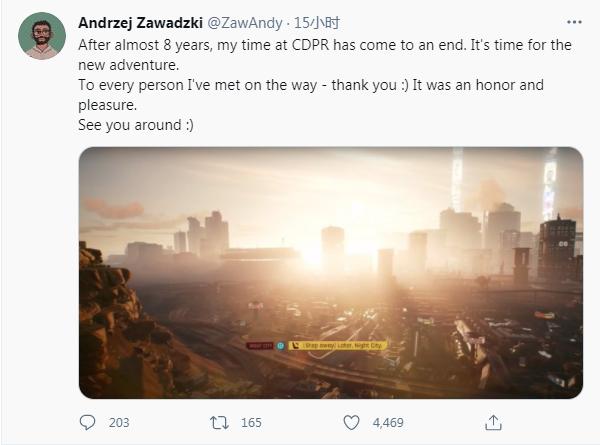 《赛博朋克2077》高级游戏设计师发推表示已离开CDPR