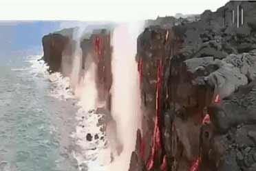 岩浆入海 谱写冰与火之歌!展示大自然残酷力量的照片