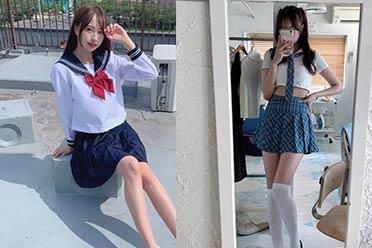 被戏称腿比赤道还长!日本美腿高中生混血模特太吸睛
