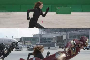 新一期影视特效前后对比照:只有黑寡妇是真的在奔跑!