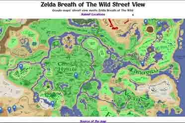 粉丝力作:谷歌地图版《塞尔达传说:荒野之息》地图