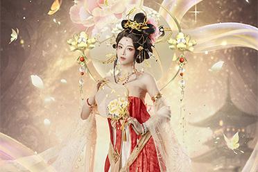 女神级coser再创佳作!国花牡丹在天空的映衬下拟人化了一大块面值
