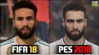 《FIFA 18》与《实况足球2018》皇马球员面部对比