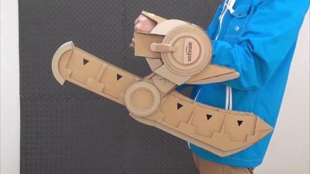 【游侠网】高玩自制《游戏王》手腕决斗盘纸壳版演示_高清